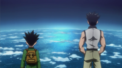 Gon and Ging view atop the tree.png