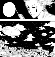 Chap 119 - Hisoka texting Illumi as the two groups leave Chrollo behind