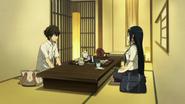 Houtarou and Fuyumi drink tea