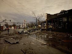 Damage in Downtown Cleveland from the Cleveland, Ohio EF5.
