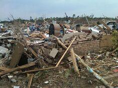 A flattened house near Tishomingo, Oklahoma that was leveled at EF4 strength.