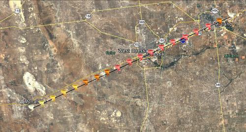 2036 Mohanes-Midland, Texas tornado track.png