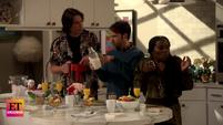 ET Spencer, Freddie and Harper at breakfast