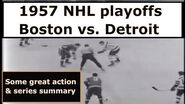 GORDIE HOWE TED LINDSAY DON SIMMONS Boston Bruins Detroit Red Wings 1957 NHL playoff highlights-0