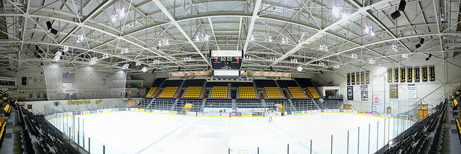 Panorama of John MacInnes Student Ice Arena showing recent improvements.
