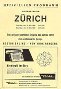 1959 Bruins Rangers tour Zurich program