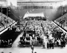A July 1927 ceremony inside the Auditorium, on the 100th anniversary of the founding of Ottawa