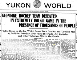 Yukon Newspaper report after first game