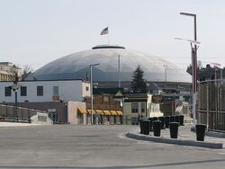 center The Tacoma Dome from the Bridge of Glass