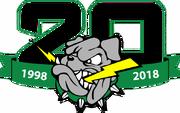 Drayton Valley Thunder 20th anniversary logo.png