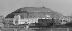 The St. Louis Arena on February 27, 1999, the day of its controlled demolition