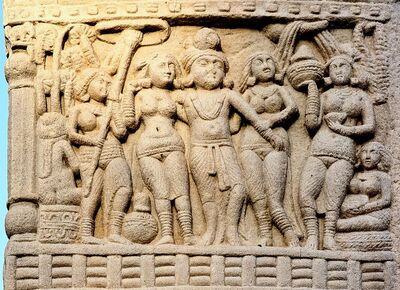 1024px-Sanchi King Ashoka with his Queens, South Gate, Stupa no. 1.jpg