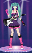 Hatsune Miku with an electric guitar on stage