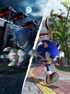 Sonic Unleashed Artwork - Sonic The Hedgehog And Sonic The Werehog (Chun-nan) (1)