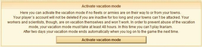 Click on the Activate Vacation Mode button