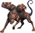 s49 / Kerberos / Cerberus (greek) - Often referred to as the hound of Hades, is a multi-headed dog, commonly a three-headed dog, that guards the gates of the Underworld to prevent the dead from leaving