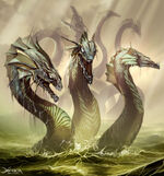 s46 / Hydra / Lernaean Hydra / Hydra of Lerna (Greek) - A serpentine water monster that lives in the lake of Lerna in the Argolid andwas killed by Heracles (Hercules) as the second of his Twelve Labors  The Hydra was the offspring of Typhon and Echidna, possessed many heads, had poisonous breath and blood that was so virulent that even its scent was deadly