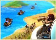 Observa o movimento das tropas e das frotas