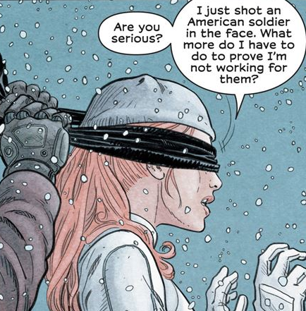 Amber blindfolded before taken to the Two-Four hideout.png