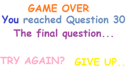My Fanmade Impossible Quiz Demo Question 30 Game Over