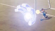 Endou's God hand getting frozen by Eternal Blizzard