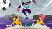Shindou and Kirino defending together CS 21