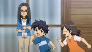 Hitomiko checking the kids