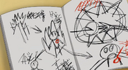 Majin the Hand in Daisuke's notebook HQ