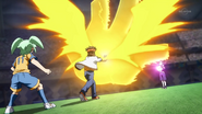 Endou using God Hand V to block Beta's Sphere Device
