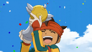 Endou holding the trophy HQ