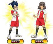 Tsurugi and Shindou in New Inazuma Japan