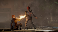 Delsin absorbs Concrete from Augustine