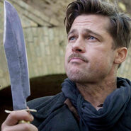 Brad Pitt with his knife