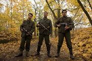 Samm Levine, Til Schweiger and Eli Roth as Hirschberg, Stiglitz and Donny