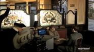 Mélanie Laurent filming bistro scene