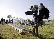 Robert Richardson on the camera train