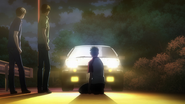 Itsuki in front of Takumi's AE86, Legend 2