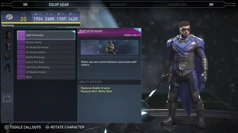 Injustice 2 - robin All Unlockable Abilities
