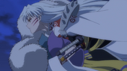 Sesshomaru carrying Towa and Setsuna