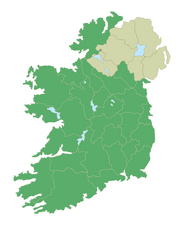 A map of Ireland showing traditional county borders and names with Northern Ireland counties colored tan, all other counties colored green