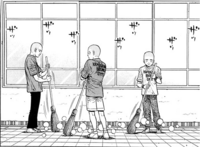 Ippo, Taihei, and Kaneda sweeping in front of KBG - 01