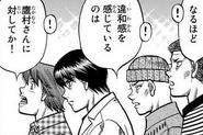Aoki, Kimura, Itagaki, and Miyata watching Takamura and Dragon's match