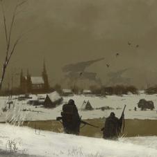Nordic landscape with mech artillery