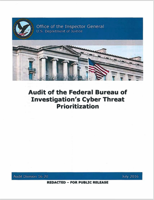 Audit of the Federal Bureau of Investigation's Cyber Threat Prioritization