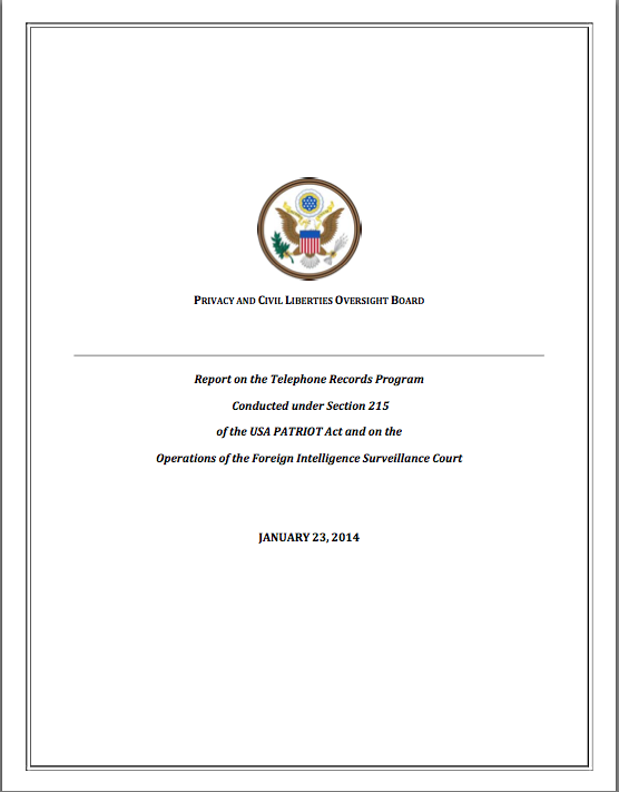 Report on the Telephone Records Program Conducted under Section 215 of the USA PATRIOT Act and on the Operations of the Foreign Intelligence Surveillance Court