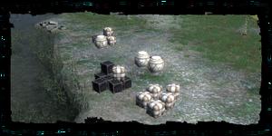 Le merci di Haren presso la riva del lago