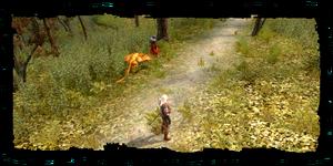Geralt, il Gerofante e una viverna addomesticata