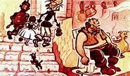 Друзья убегают от Людоеда. Волшебник Изумрудного города. Художник Г. Портнягина. Москва, Диафильм. 1960 год.