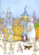 Dorothy and her friends in China Country. Illustration Wayne Anderson