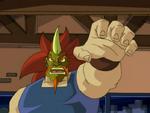 Hak Foo Wearing Mosugurīn's Mask